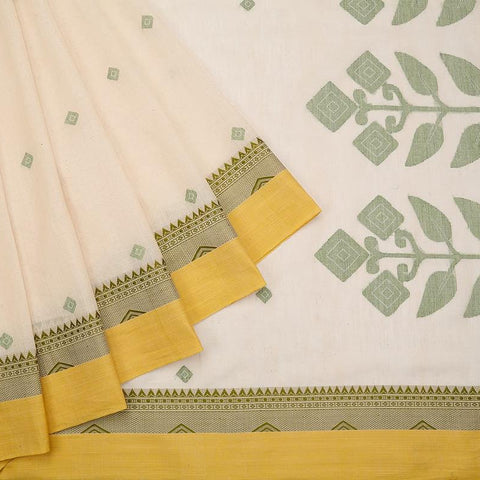 bengal jamdani cotton white Saree with yellow border with temple design
