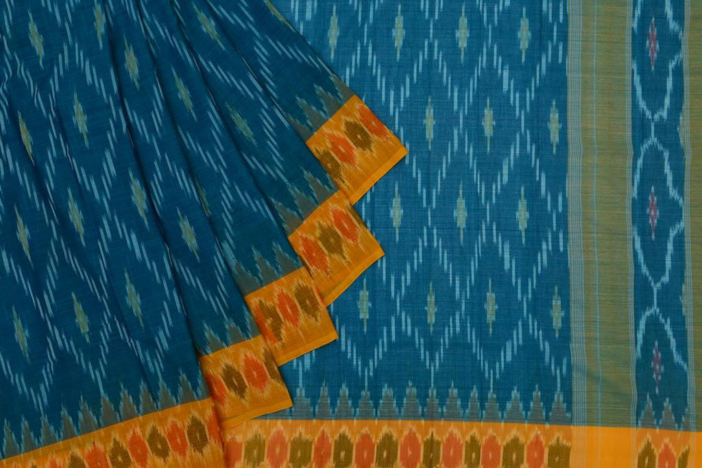 blue Andhra cotton Saree with jaal