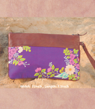 Purple and Multicolured Cotton Silk Clutch