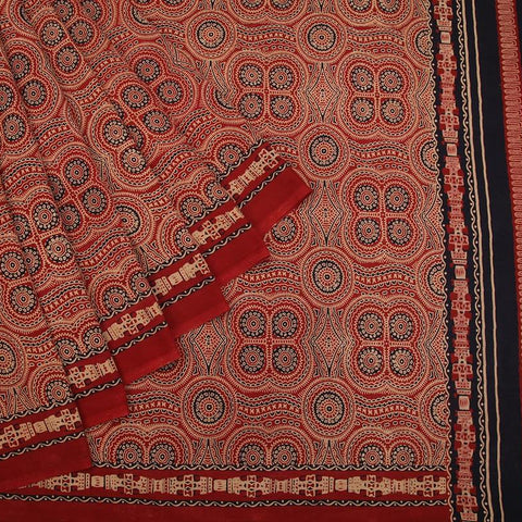 Ajrakh motif Ajrakh cotton red abstract design Saree