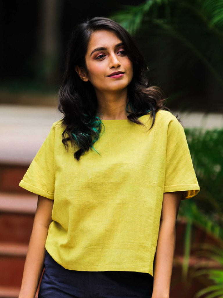 Handwoven Mustard Cotton Top