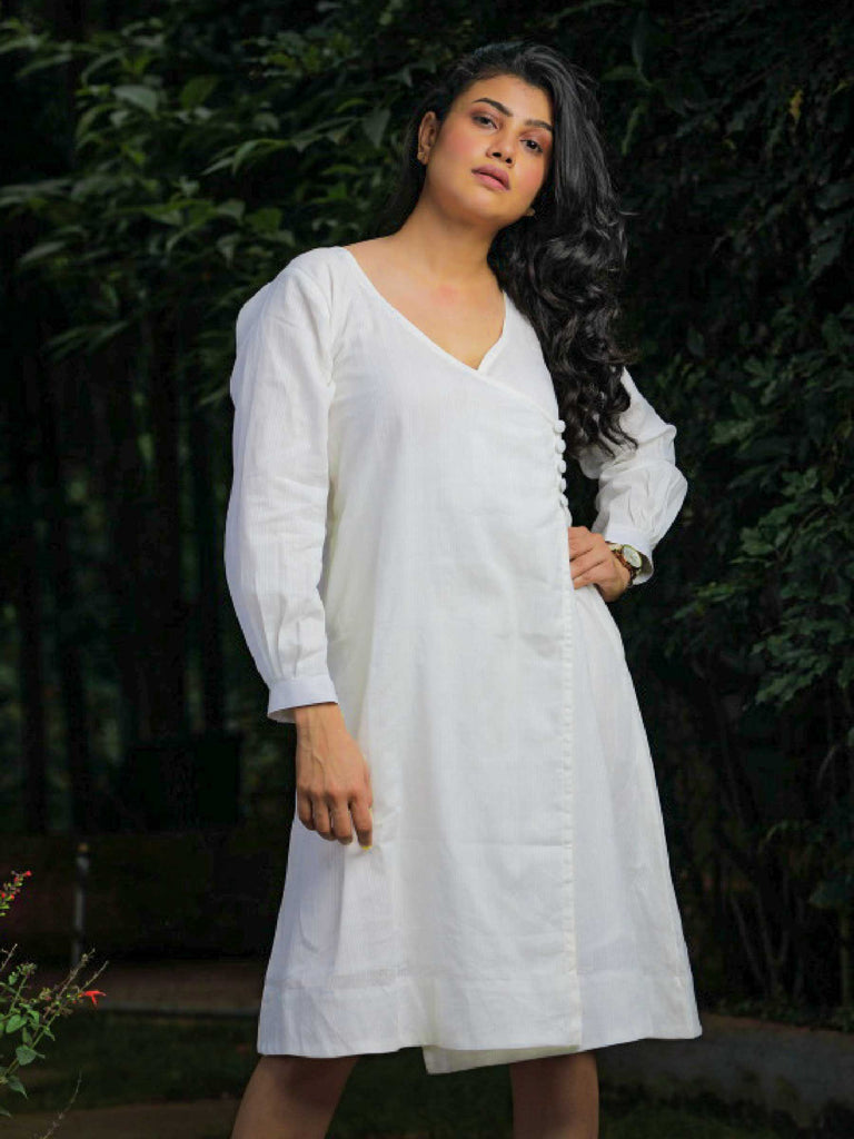 Handwoven White Cotton Dress