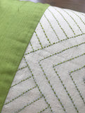 Hand Block Green and White Cushion Cover (Set of 2)