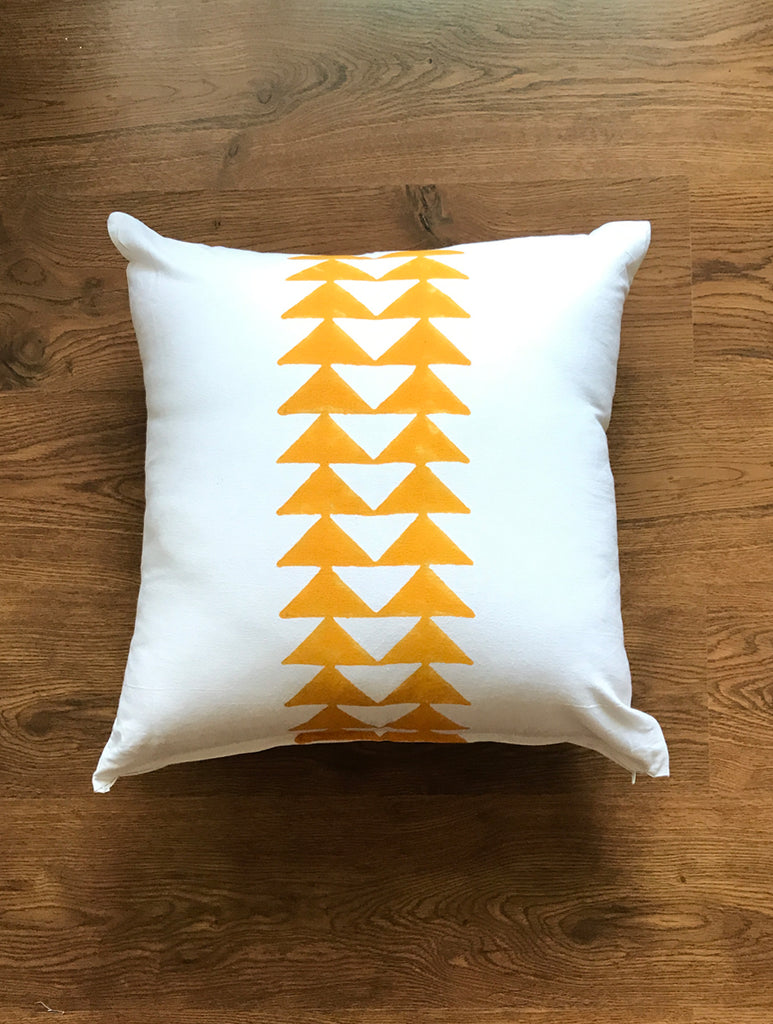 Hand Block Yellow Cushion Cover (Set of 2)