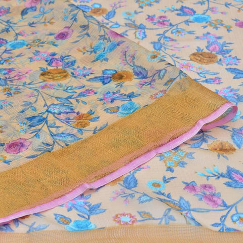 Kota Silk cream Saree with pink all over floral print