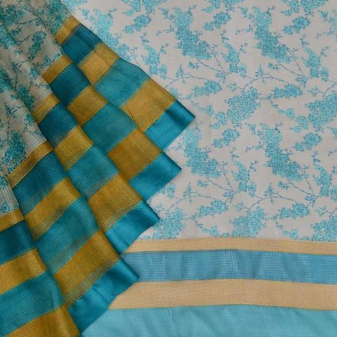 Kota Silk cream Saree with green all over floral print