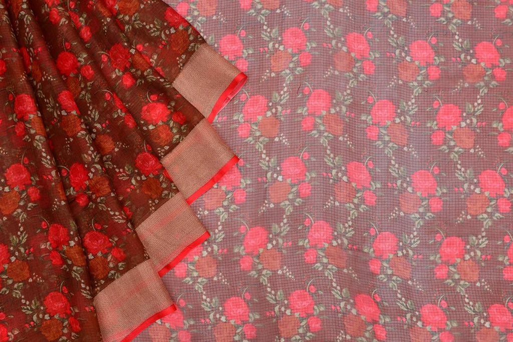 Kota Silk brown Saree with red  all over floral print