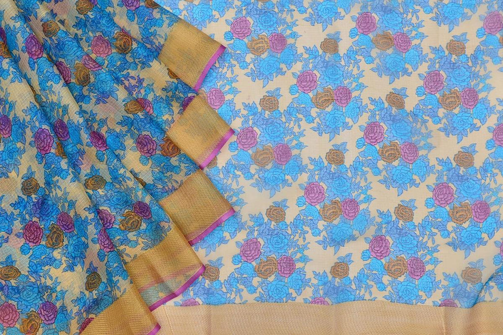 Kota Silk cream Saree with blue all over floral print