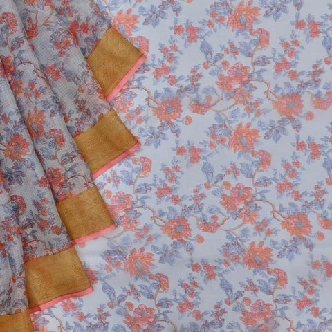 Kota Silk blue Saree with multiple  all over floral print
