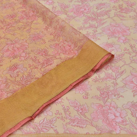 Kota Silk off white Saree with pink all over floral print