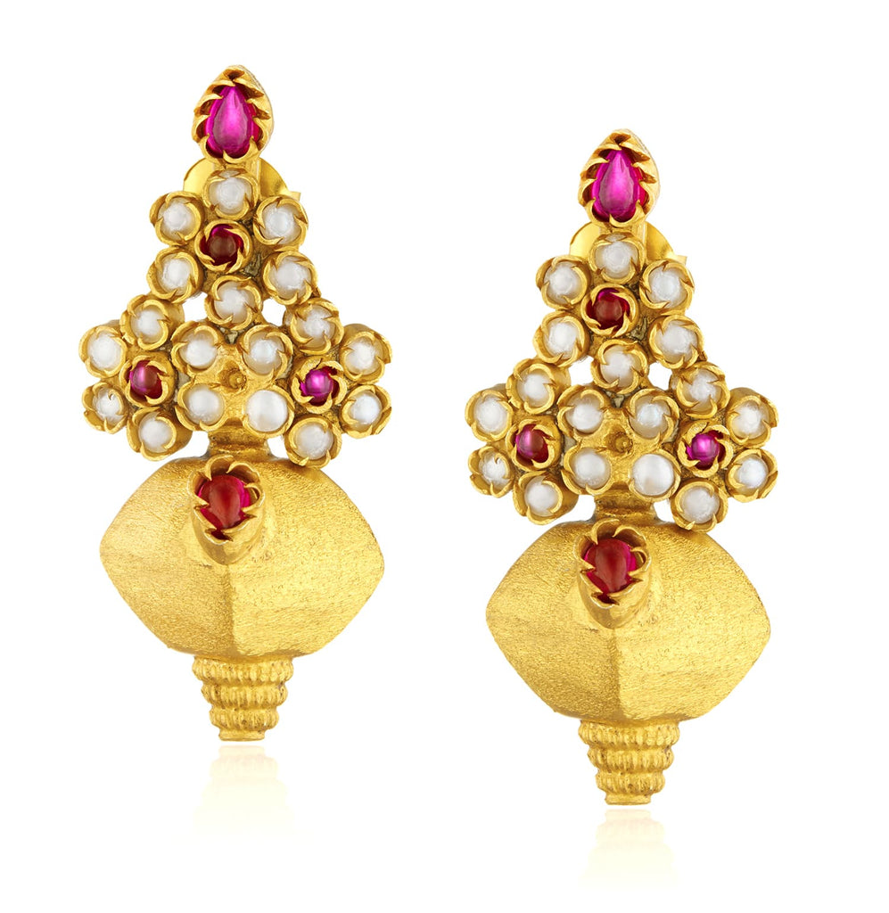 pearl and red gemstone temple earrings