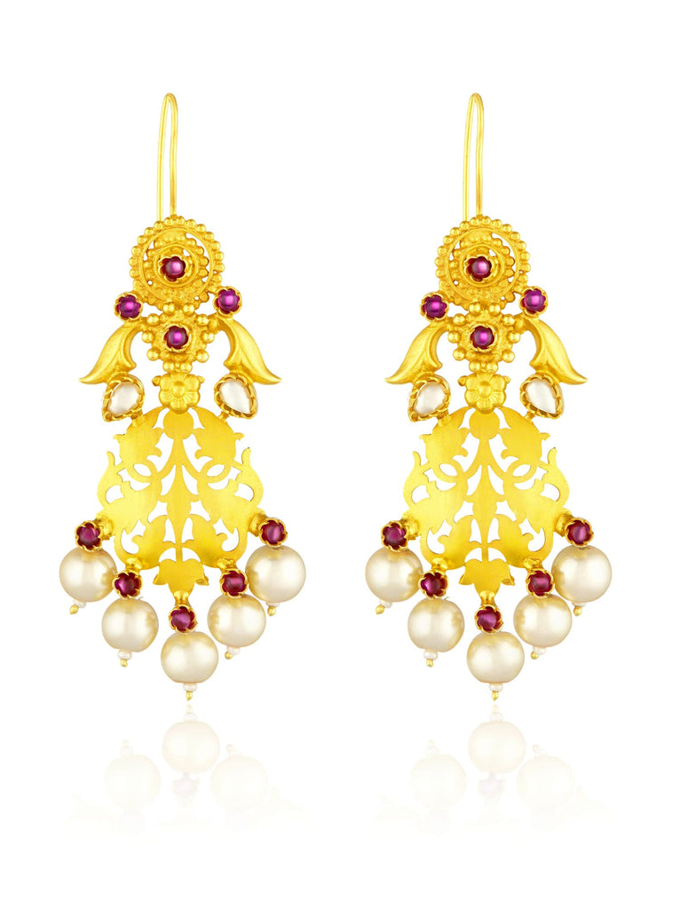 pearl and red filigree earring