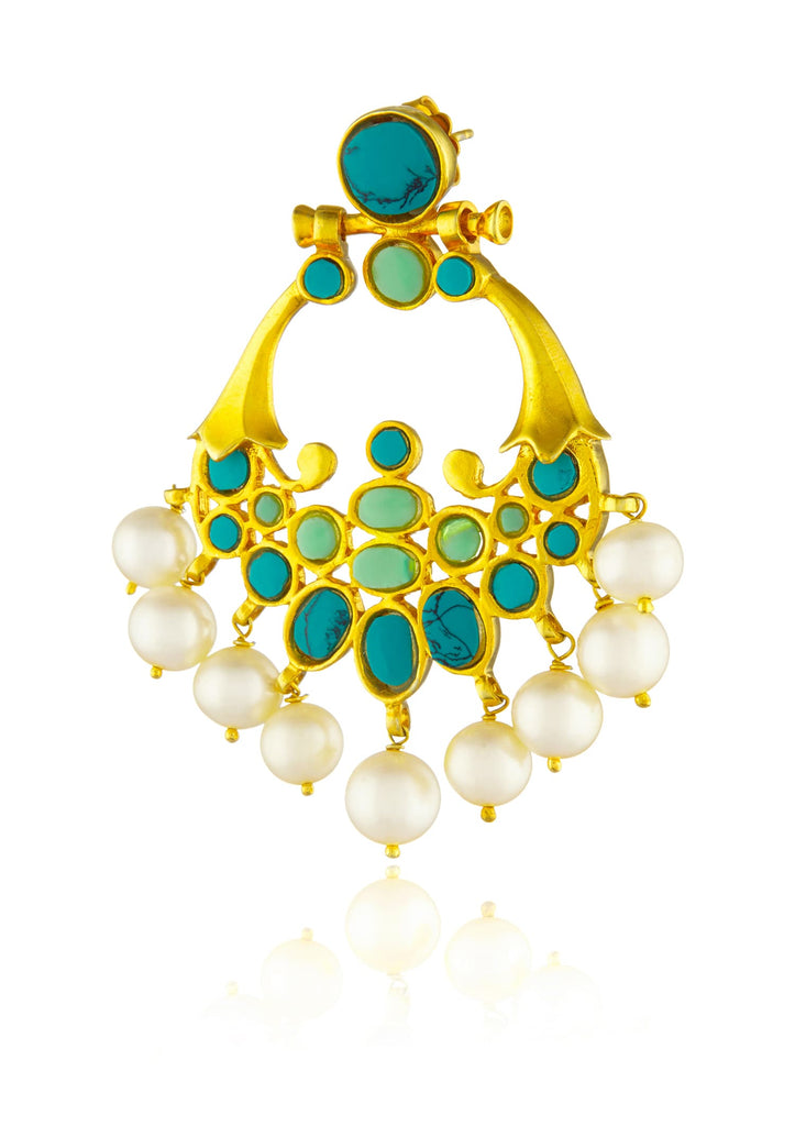 turquoise and jade stone chand balis