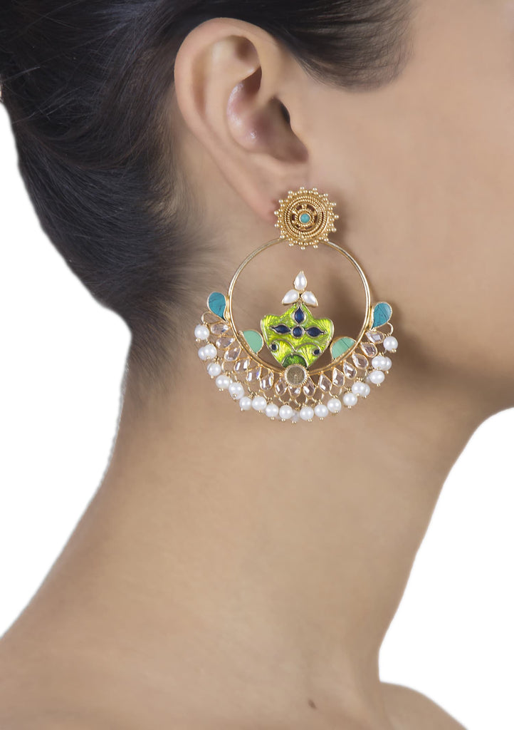 pearl studded enamel chand balis