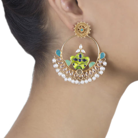 17a2d6c90 pearl studded enamel chand balis ...