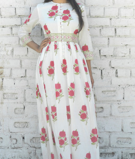 block print magenta and off-white Mulmul maxi