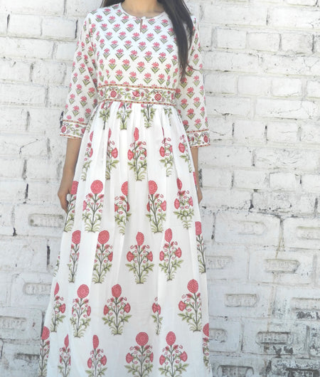 block print pink and off-white Mulmul maxi