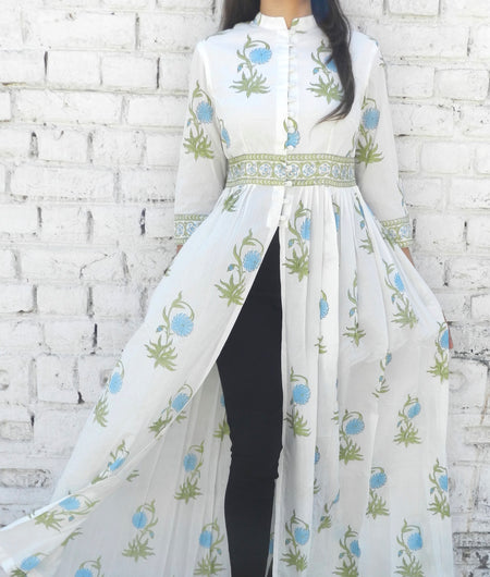 block print blue and off-white Mulmul cape