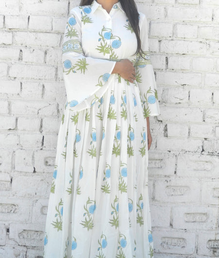 block print blue and off-white Mulmul maxi