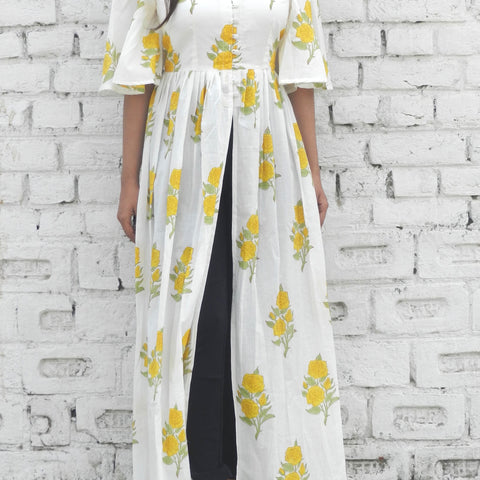block print yellow and off-white Mulmul cape