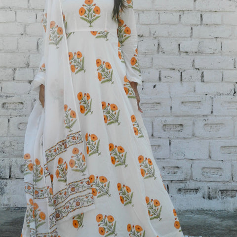block print orange and off white Mulmul Suit