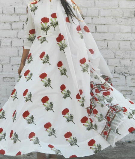 block print red and off white Mulmul Suit
