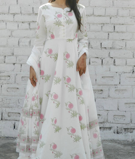 block print pink and off white Mulmul Suit
