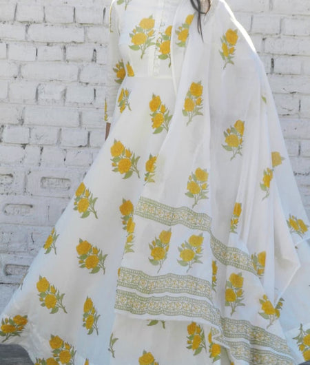 block print yellow and off-white Mulmul Suit