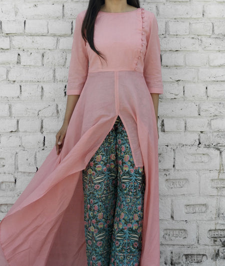 block print  pink and teal Mulmul Cape & Pallzo Set
