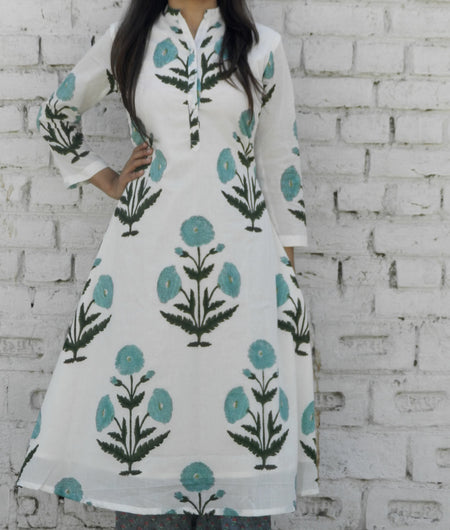 block print  white and turquoise Mulmul Cape & Pallzo Set