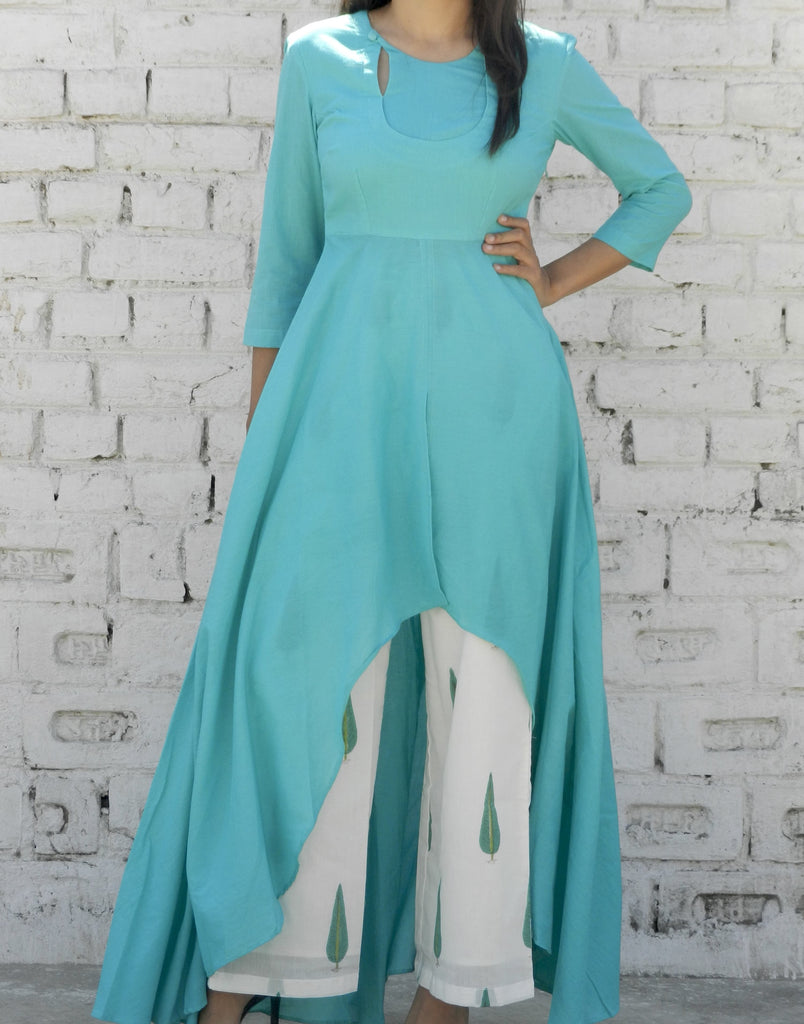 block print  white and aqua Mulmul Cape & Pallzo Set