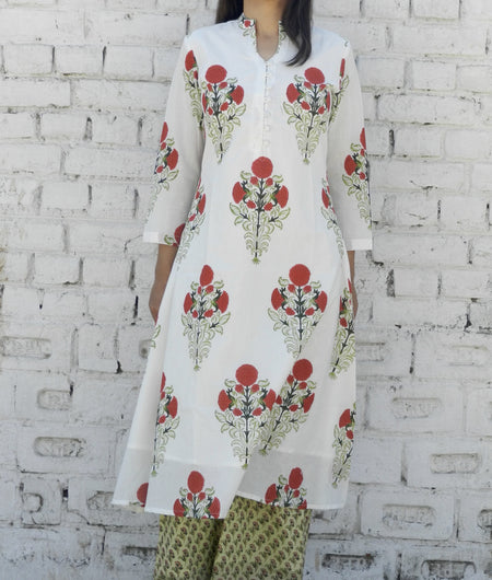 block print  white and red Mulmul Cape & Pallzo Set