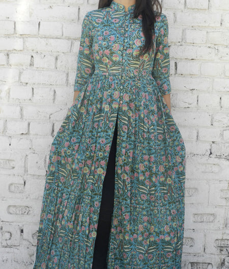 block print  teal blue Mulmul Cape