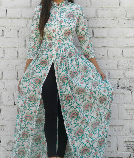 printed  multicolor and off white base mulmul cape