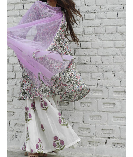 printed  lilac  and off white base mulmul sharara set