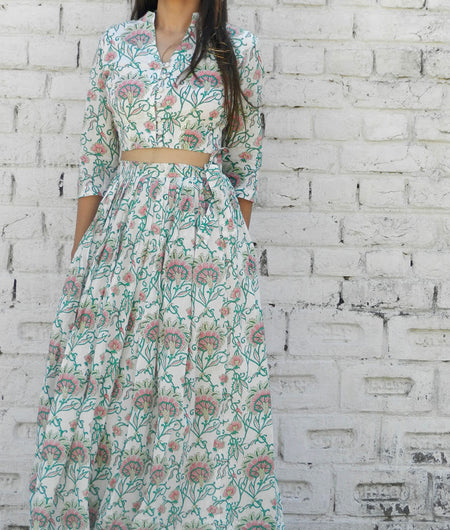 printed  green  and off white base mulmul lehenga set