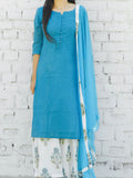 printed  blue  and off white base mulmul sharara set