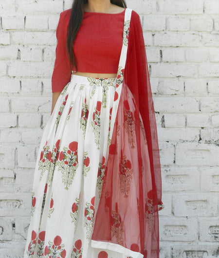 printed  red  and off white base mulmul lehenga set