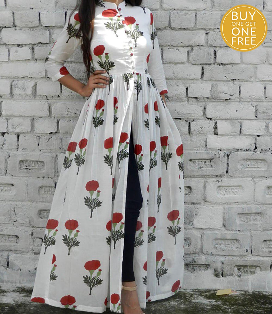printed  red and off white base mulmul cape