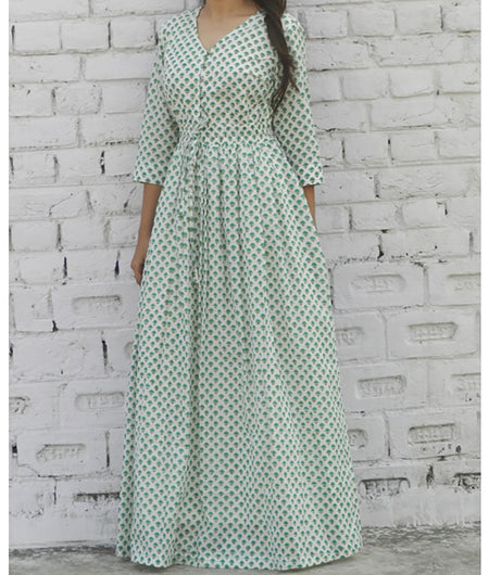 printed  green and off white base mulmul maxi