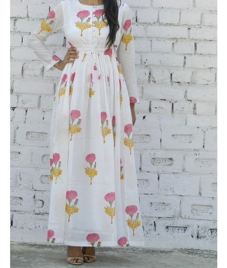 printed  pink and off white base mulmul maxi