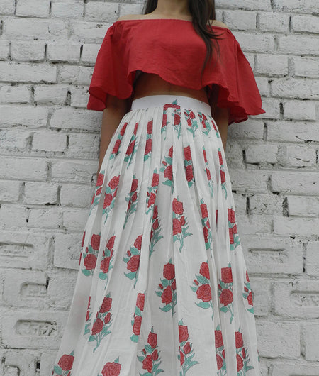 printed  red and off white base mulmul set