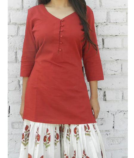 printed  red  and off white base mulmul Sharara set