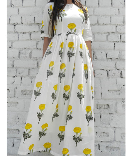 printed  yellow and off white base mulmul cape