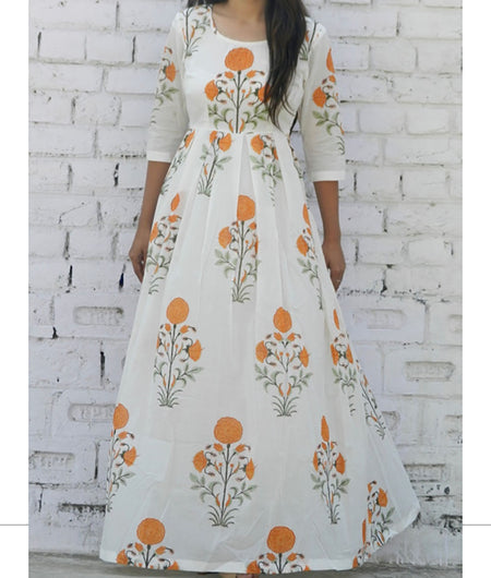 printed  yellow and off white base mulmul maxi
