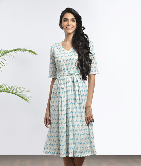 hand block  printed blue and off white Mulmul cotton Dress