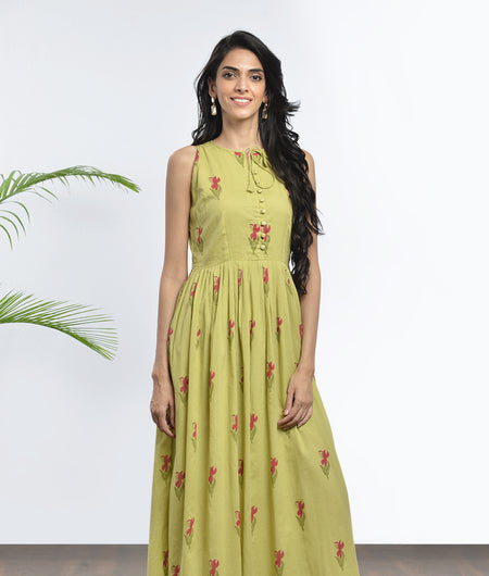 hand block  printed olive green and magenta Mulmul cotton Maxi