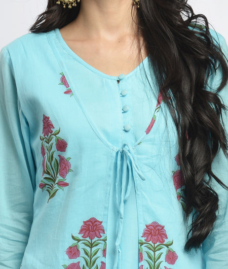 hand block  printed blue and pink Mulmul cotton Kurta Set