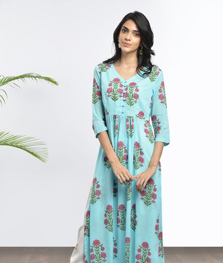 hand block  printed blue and pink Mulmul cotton Kurta