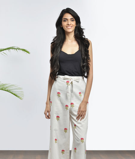 hand block  printed off white and magenta Mulmul cotton Pants
